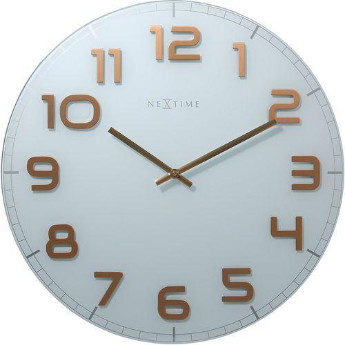 Zegar ścienny Classy Nextime 50 cm, biały / miedziany (3105 WC), 3105wc