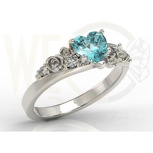 Węc - twój jubiler Pierścionek z białego złota z topazem swarovski blue i diamentami ap-5312b
