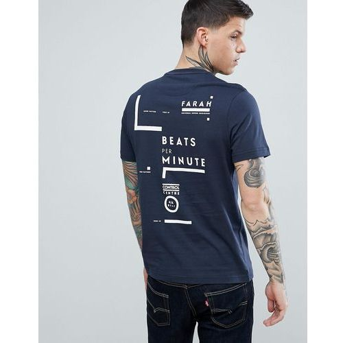 memeson slim fit large graphic back logo t-shirt in navy - navy marki Farah