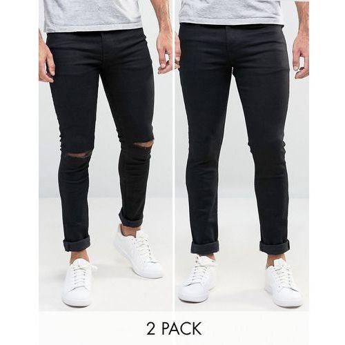 ASOS Super Skinny Jeans 2 Pack In Black & Black With Knee Rips SAVE - Black z kategorii Pozostałe