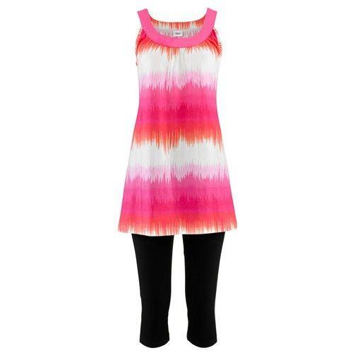 Sukienka + legginsy rybaczki (2 części) bonprix jasnoróżowo-biały z nadrukiem + czarny, kolor wielokolorowy