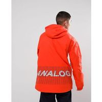 Analog Caldwell Overhead Ski Jacket Hooded Insulated Back Logo Print in Red - Red