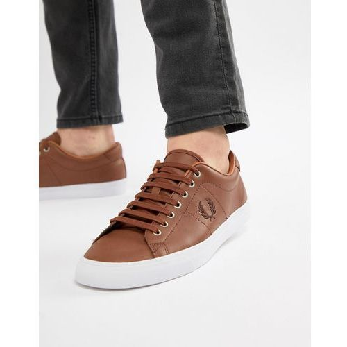underspin leather trainers in tan - tan marki Fred perry