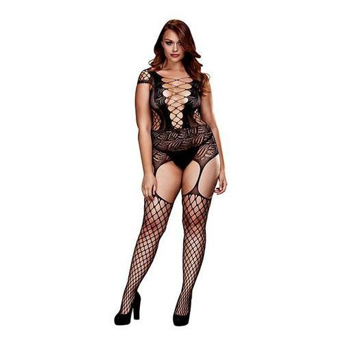 Bodystocking - baci corset front suspender fishnet bodysuit queen size marki Baci lingerie