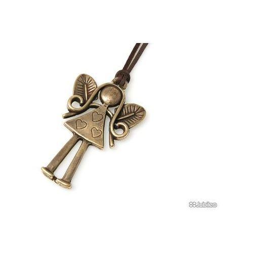 Jubileo.pl Wisiorek aniołek złoty talizmany skórzane kolor brązowy japan style