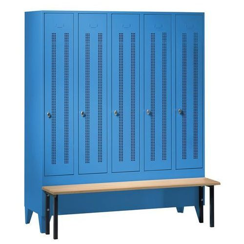Szafka na ubrania z ławeczką z przodu, drzwi perforowane, szer. przedziału 300 m marki Eugen wolf