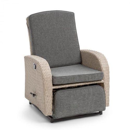 Blumfeldt Comfort Siesta Luxury fotel ogrodowy regulowane oparcie podnóżek jasnoszary
