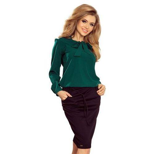 Numoco Zielona bluzka elegancka z wiązaną szarfą