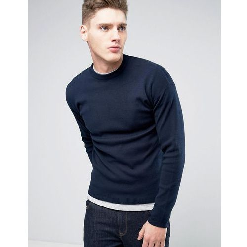 knitted jumper with stepped hem - navy, Only & sons