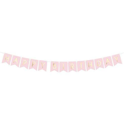 Baner różowy z napisem happy birthday - 175 cm - 1 szt. marki Party deco