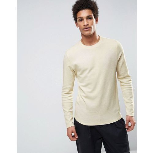long sleeve top with curved back in slub cotton - cream marki Selected homme