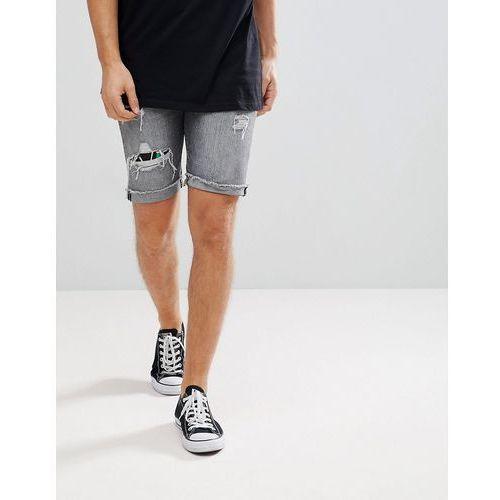 Levi's 501 original hawaiian rip & repair shorts - grey marki Levis