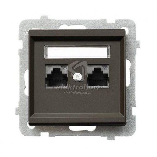 Gniazdo komputerowe 2x RJ45, kat. 5e czekoladowy metalik GPK-2R/K/m/40 SONATA, GPK-2R/K/m/40/OSP
