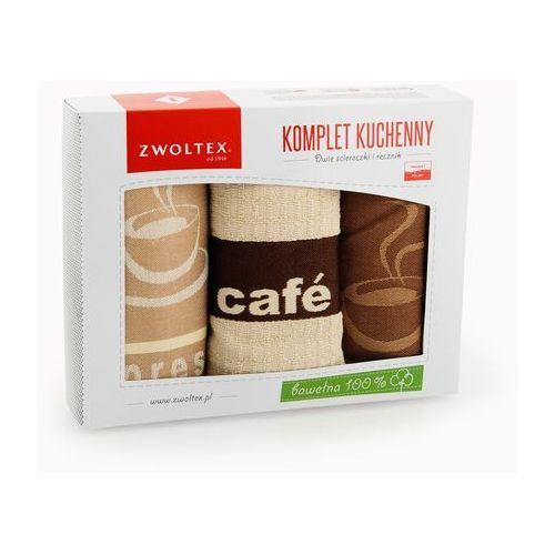 Zwoltex Komplet ścierek kuchennych 2+1 wzór kawa beżowy