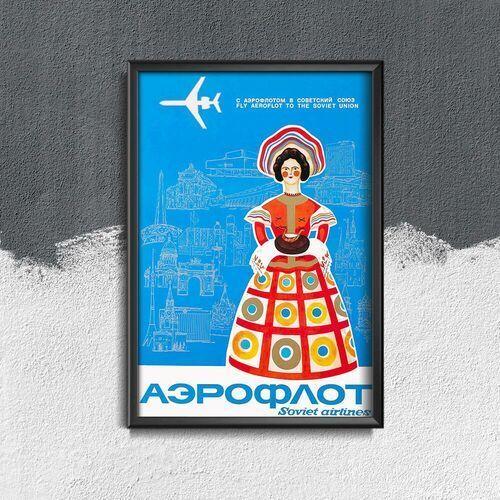 Plakat vintage Plakat vintage Rosyjski Aeroflot do Związku Radzieckiego