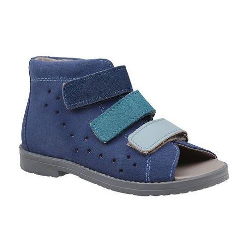 Sandałki Profilaktyczne Ortopedyczne Buty DAWID 1042 Niebieskie GJNP - Niebieski ||Granatowy, kolor niebieski