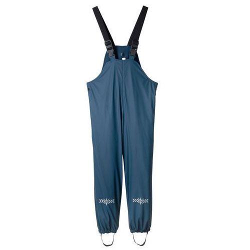 Spodnie przeciwdeszczowe chłopięce na szelkach ocieplane ciemnoniebieski marki Bonprix