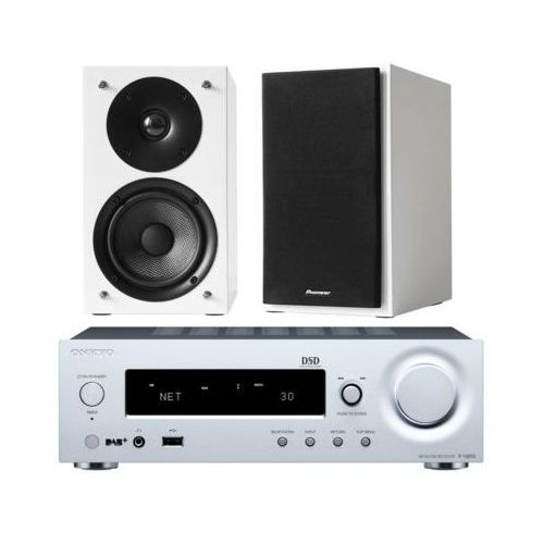 Onkyo Zestaw stereo r-n855 + pioneer s-p01-lrw biały