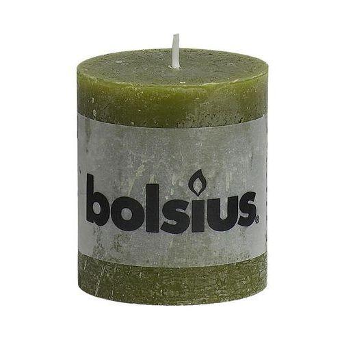 Bolsius Świeca pieńkowa rustic oliwkowa wys. 8 cm