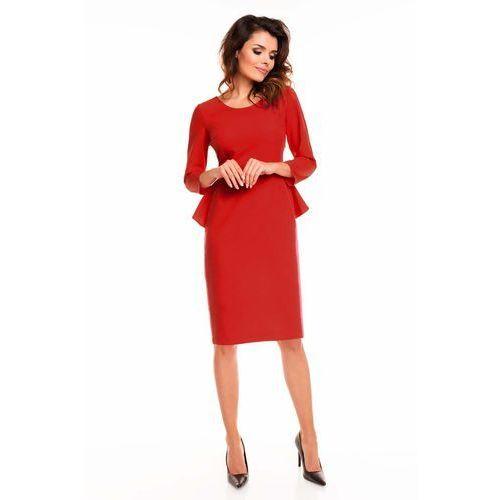 Czerwona sukienka midi z baskinką z tyłu marki Awama