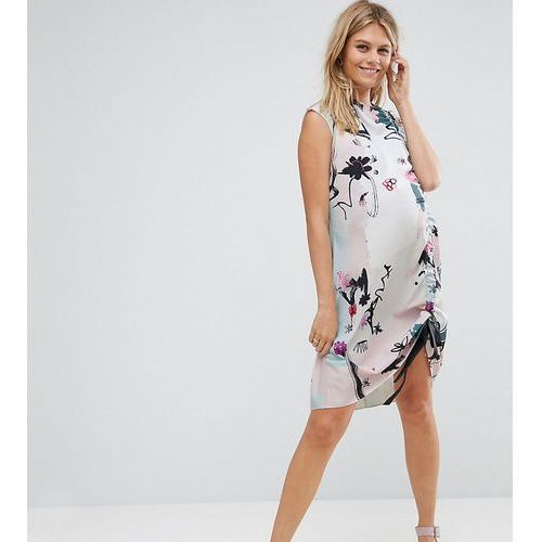 ASOS Maternity Sleeveless Ruched Detail T-Shirt Dress in Contemporary Print - Multi