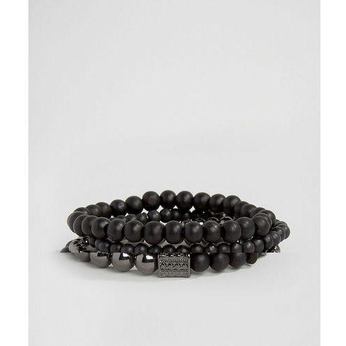 Icon Brand Cross Beaded Bracelet Pack In Black - Black