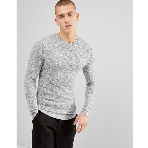 Asos longline muscle long sleeve t-shirt in brushed knitted jersey in grey - grey
