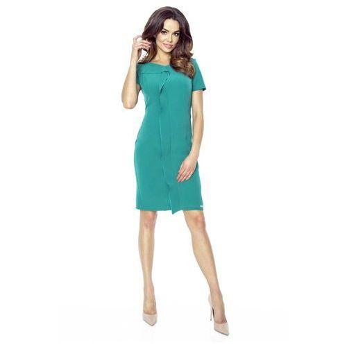 Zielona sukienka elegancka mini z plisą, Bergamo, 36-44