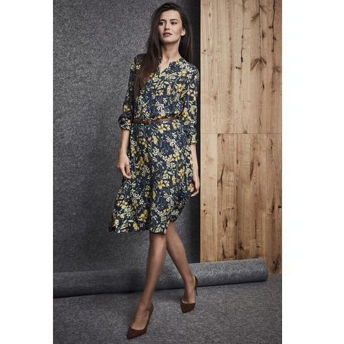 Sukienka w kwiatowy motyw - Ennywear, kolor niebieski