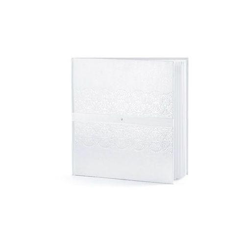 Partydeco Księga gości weselnych, biała ze wzorem, tasiemką i cyrkonią, 20,5x20,5 cm, 22 kartki (5901157450982)