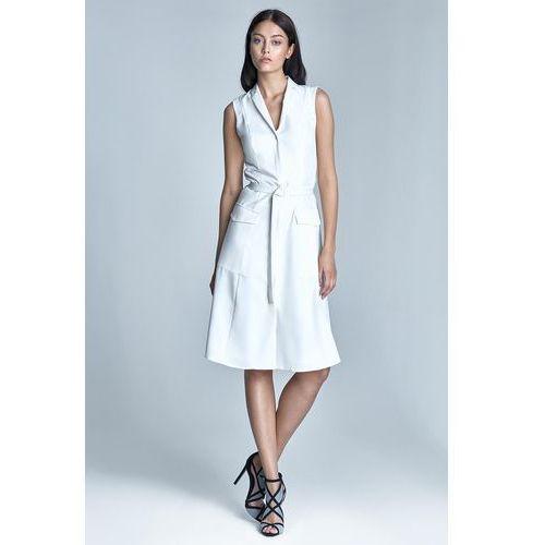 Nife Ecru sukienka koszulowa szmizjerka z kieszeniami bez rękawów