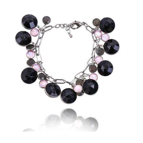 Bransoletka z czarnych i różowych kryształków