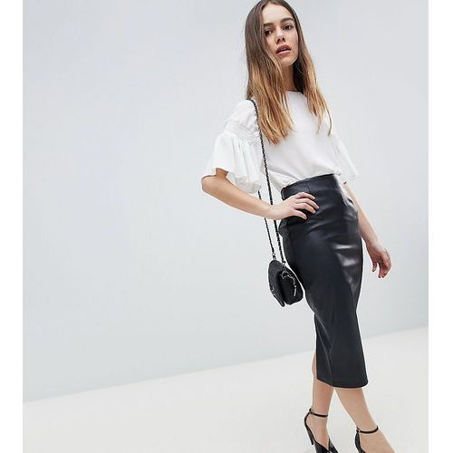 Asos design petite sculpt me leather look midi skirt - black marki Asos petite