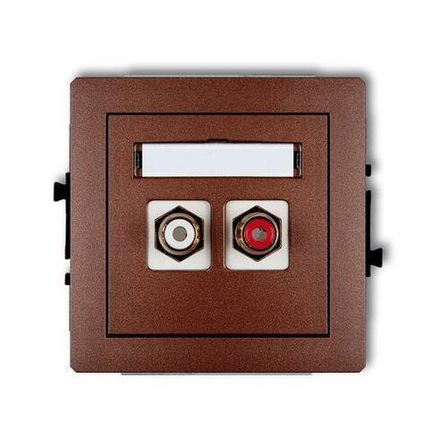 Gniazdo podwójne RCA (cinch - biały i czerwony, pozłacany) 9DGRCA-2, brązowy KARLIK DECO (5903418064303)