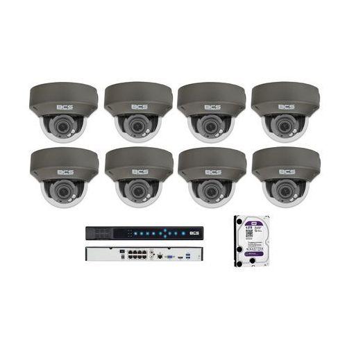 BCS-P-232R3S-G Zestaw BCS POINT 8 kamer 2 Mpx 4TB HDD Rejestrator PoE. Idealny do dozoru villi, domów, posesji i dziedzińców.