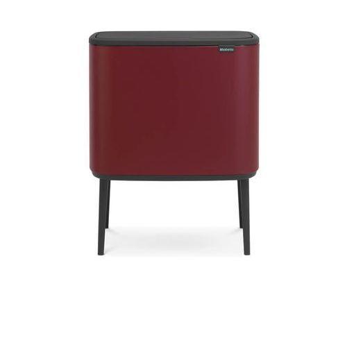 Brabantia - Kosz Bo Touch Bin 2 komory 11+23L Mineral Windsor Red, kolor czerwony