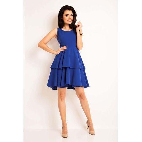 Niebieska Elegancka Rozkloszowana Sukienka z Baskinką