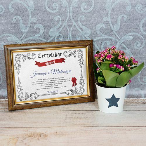 Certyfikat Miłości - Certyfikat obramowany 20x30cm