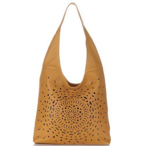 Modne ażurowane torebki skórzane made in italy rude (kolory) marki Vittoria gotti