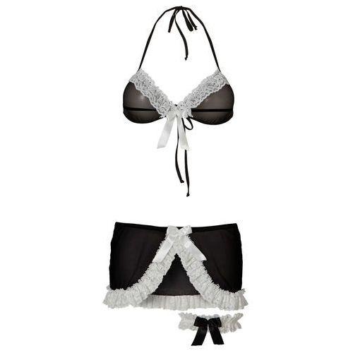 Bonprix Biustonosz + spódniczka + podwiązka (3 części) czarno-biały