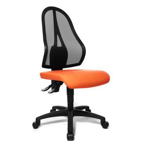 Obrotowe krzesło biurowe, czarne oparcie siatkowe, bez poręczy, obicie siedziska marki Topstar