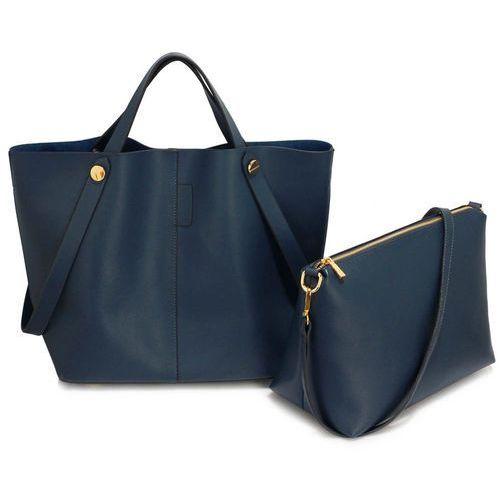 Granatowa torebka damska shopper bag - granatowy, kolor niebieski
