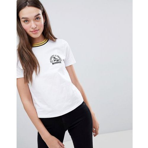 varsity motif t-shirt with contrast collar in white - white, Miss selfridge
