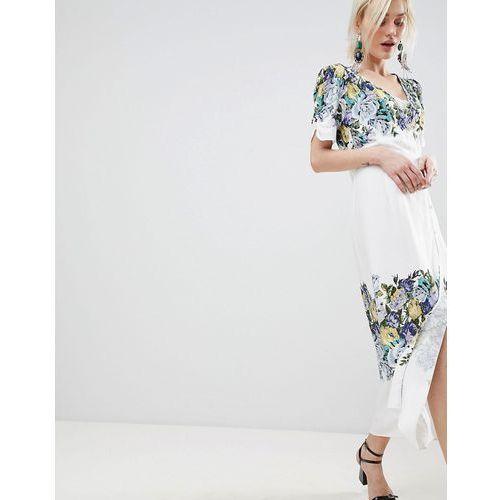 jaimie floral print midi wrap dress - white, Free people, 34-40