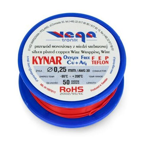 Vega tronik Przewód montażowy kynar z miedzi srebrzonej - 0,25 mm/awg 30 - czerwony - 50m