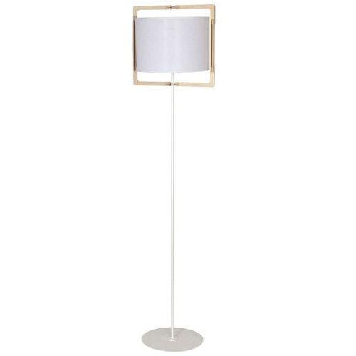 Lampa stojąca podłogowa abażur w drewnianej oprawie Aldex Loki 1x60W E27 biała 881A