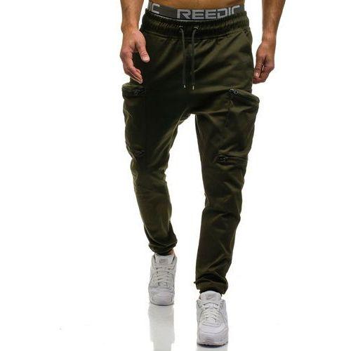 Athletic Spodnie joggery bojówki męskie zielone denley 0475
