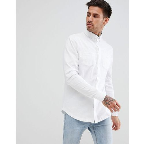 boohooMAN Jersey Shirt In Regular Fit With Double Pockets In White - White, kolor biały