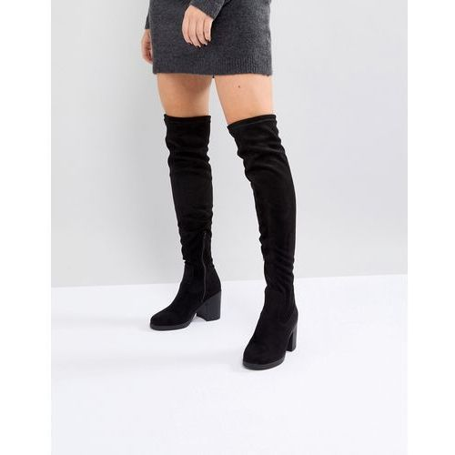 chunky heel stretch over knee boot - black, Truffle collection