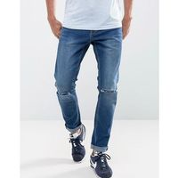 skinny jeans in indigo with ripped knees - blue, Ldn dnm